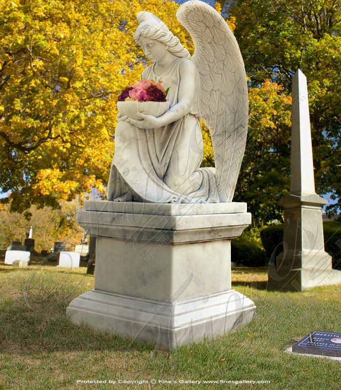 Marble Kneeling Angel Memorial