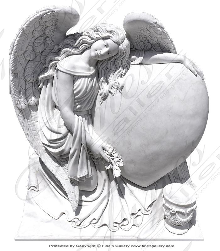 Marble Angel w Heart Memorial