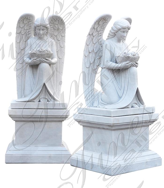 Marble Memorials  - Kneeling Angel Monument - MEM-474