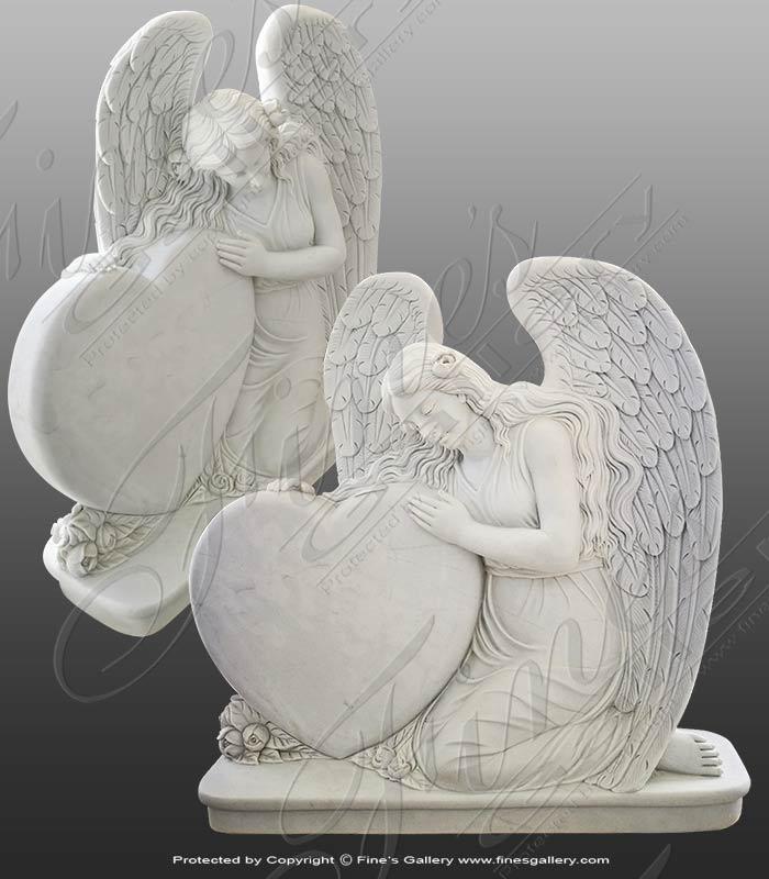 Marble Memorials  - Kneeling Marble Angel - MEM-480