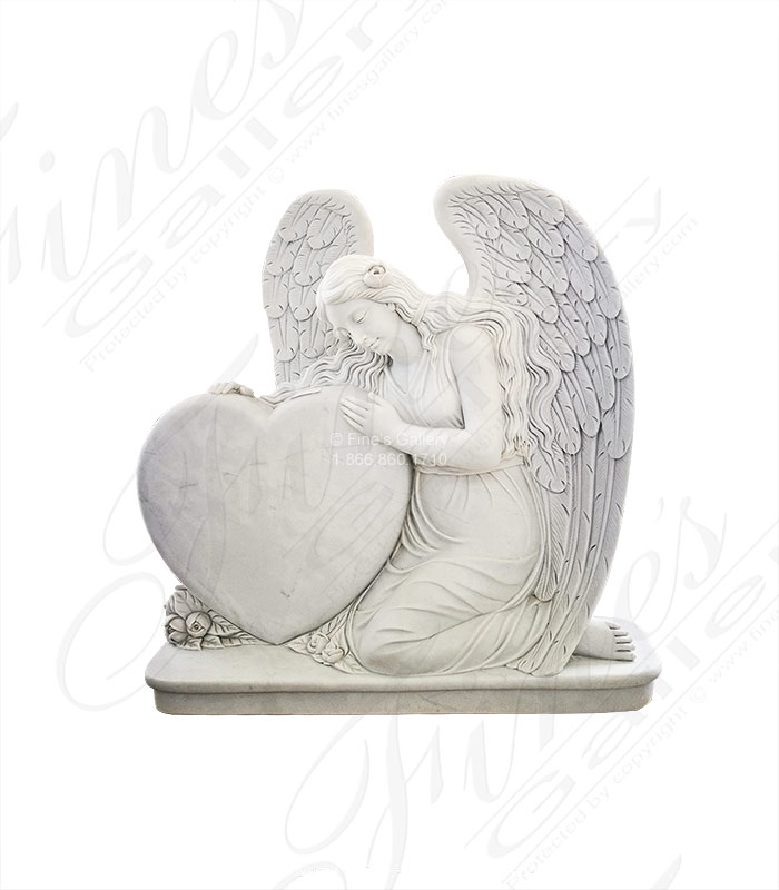 Marble Memorials  - White Marble Angel Hearth Monu - MEM-485
