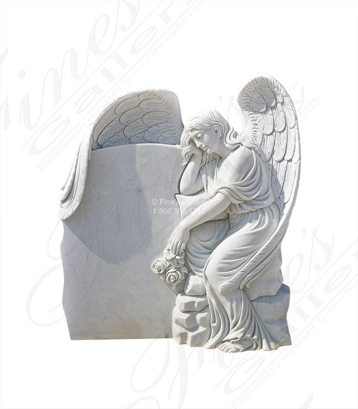 Marble Memorials  - Weeping Angel Headstone - MEM-486