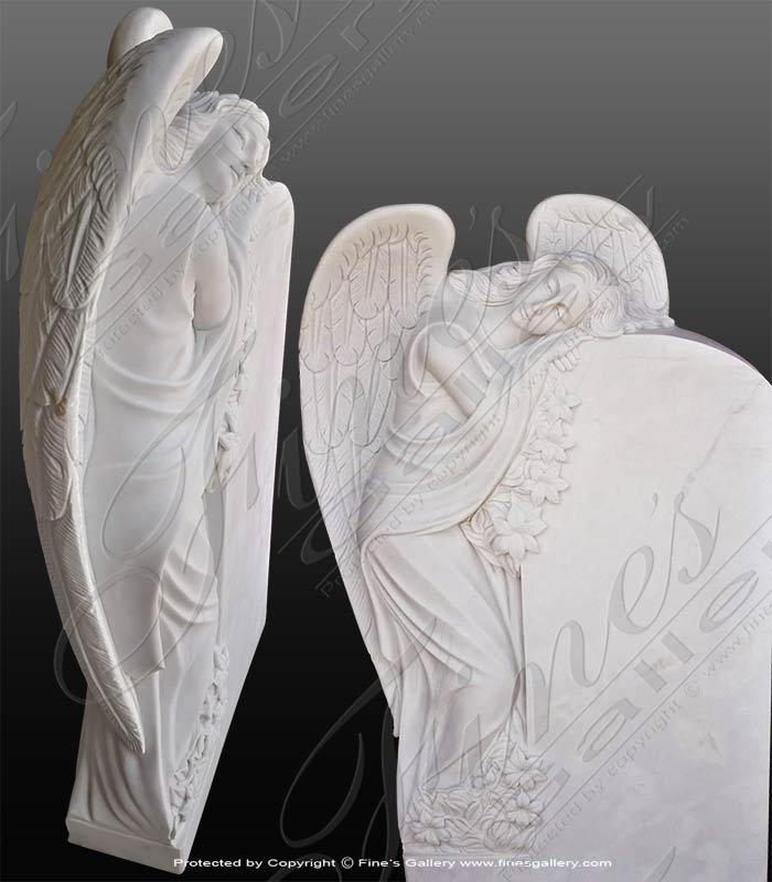 Marble Memorials  - White Marble Angel Memorial - MEM-488