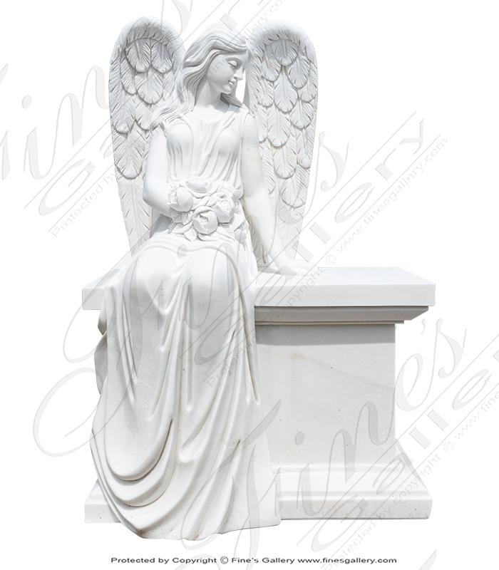 Marble Memorials  - Loving Angel Monument Bench - MEM-489