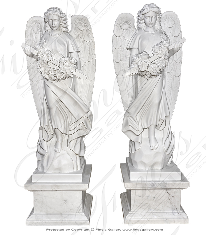 Ornate White Marble Angel Pair
