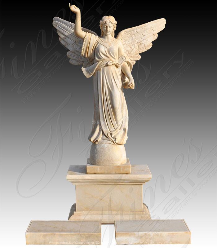 Marble Memorials  - Angel With Trumpet Marble Memorial - MEM-496