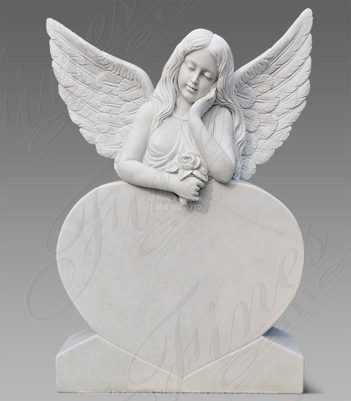 Marble Memorials  - Daydreaming Angel Marble Monument - MEM-500