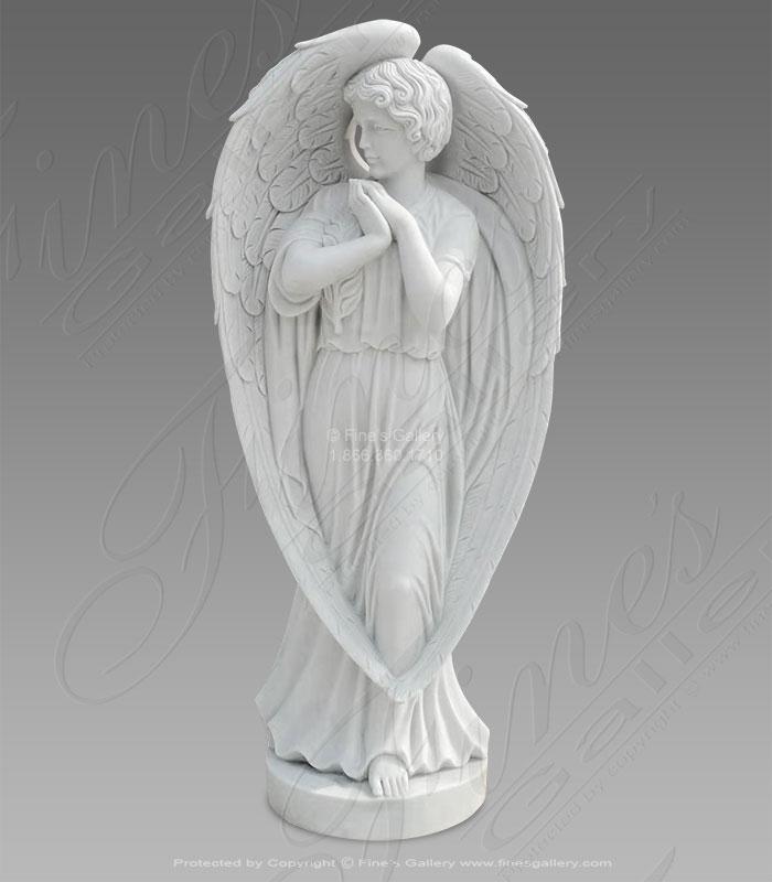 Marble Memorials  - Long Winged Marble Angel Monument - MEM-502