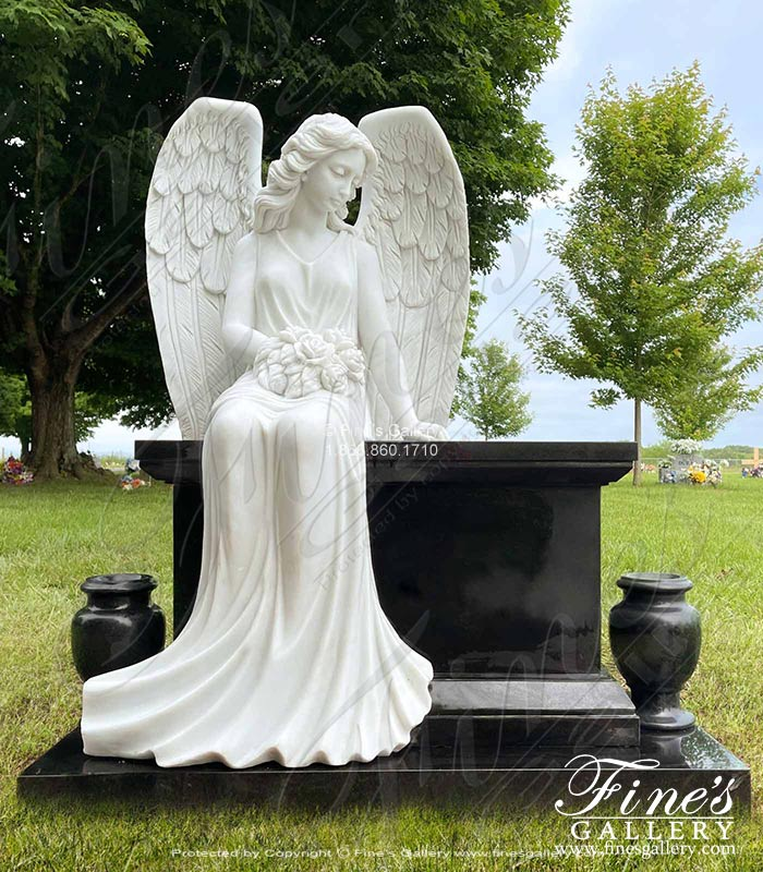 White Marble Angel with Black Granite Bench and Urns