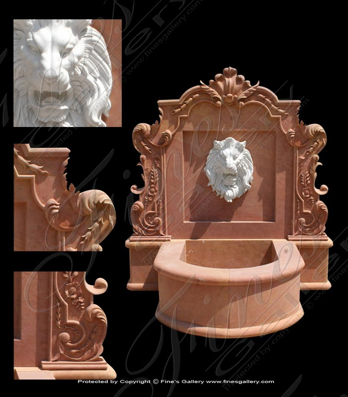 Two Marble Lion Wall Fountain