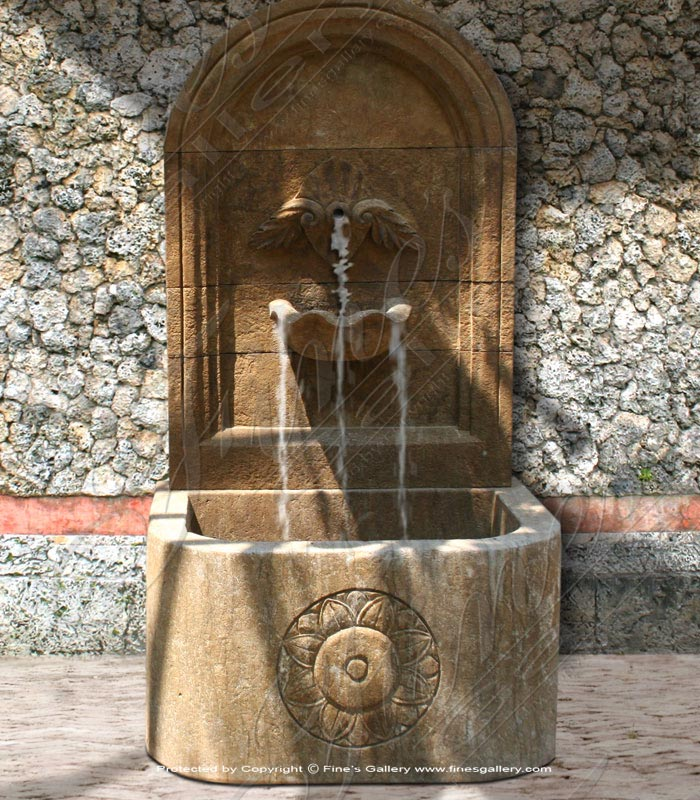 Marble Fountains  - Rustic Marble Wall Fountain - MF-1069