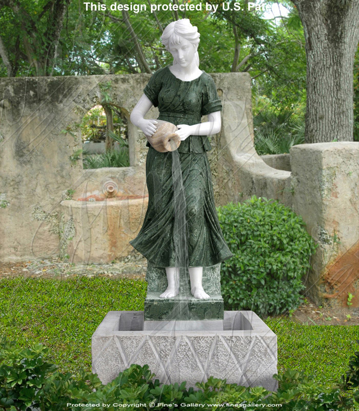 Marble Fountains  - White/Green Girl Marble Fountain - MF-1133