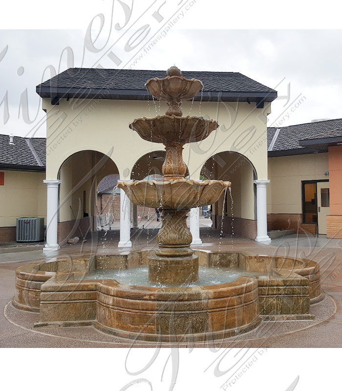 Marble Fountains  - Three Tiered Granite Fountain - MF-1255