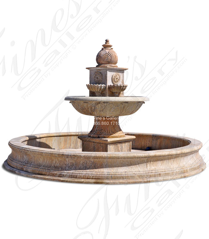 Marble Fountains  - Antique Gold Granite Fountain - MF-1274