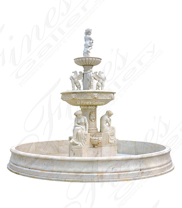 Antique White Greco Roman Fountain   MF 1315