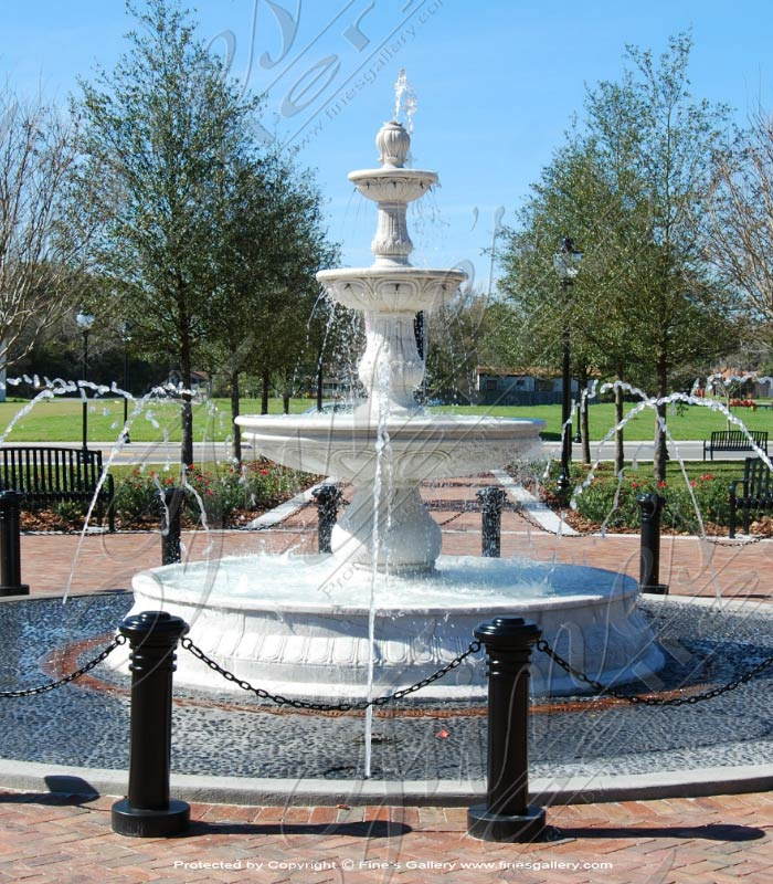 City Park fountain in White Marble