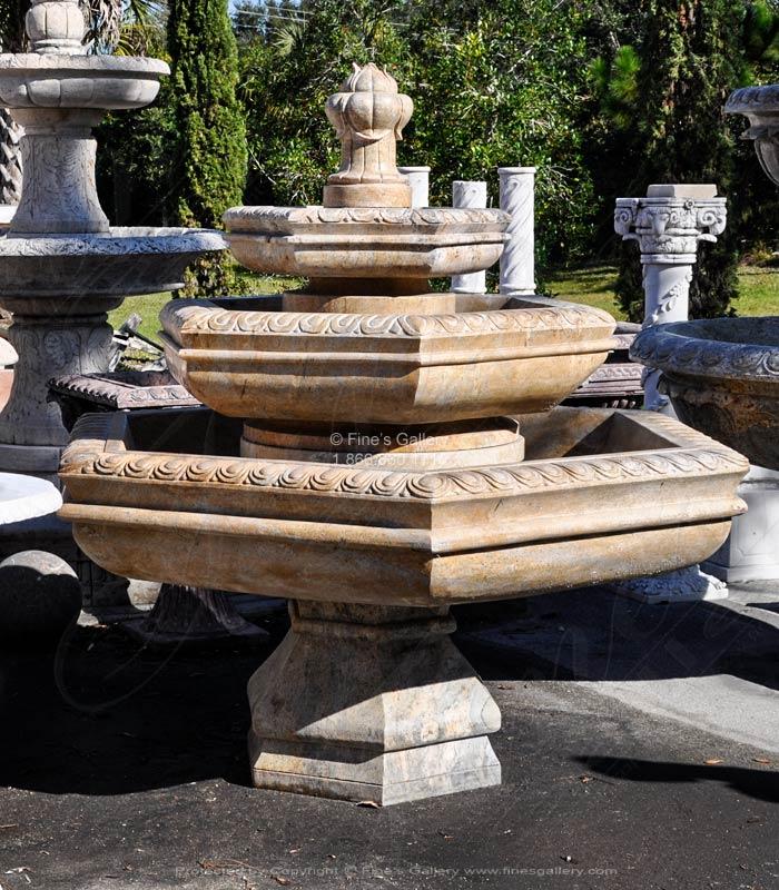 3 Tiered Granite Hexagon Fountain