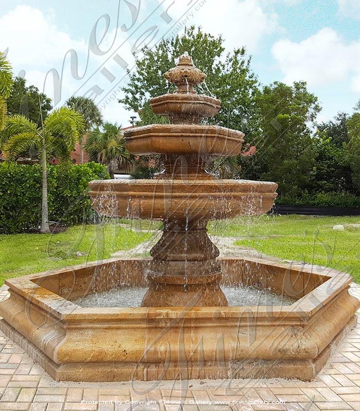 Marble Fountains  - Beige Marble Lion Head Fountai - MF-1696