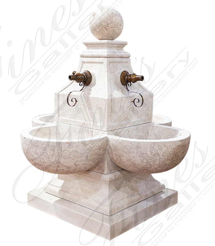 Transitional French Travertine Fountain