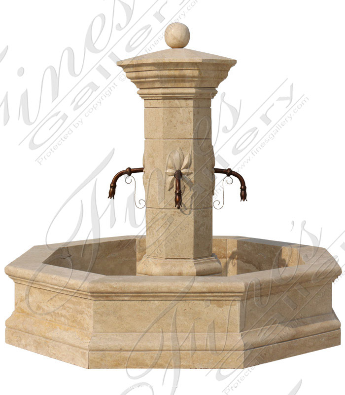 French Countryside Travertine Fountain