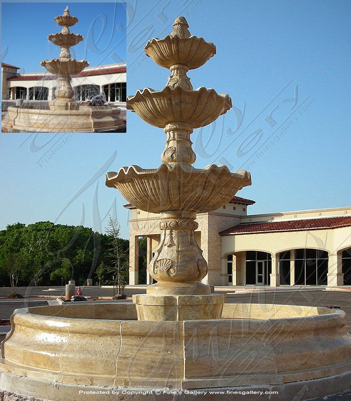 Large Outdoor Tiered Fountain in Antique Marble