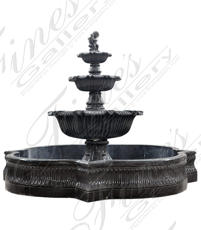 Marble Fountains  - Two Tiered White Marble Fountain - MF-1709