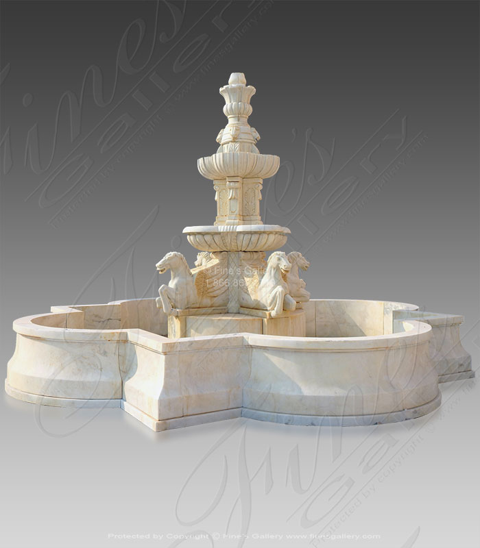 Search Result For Marble Fountains  - Roman Horses Marble Fountain - MF-1002