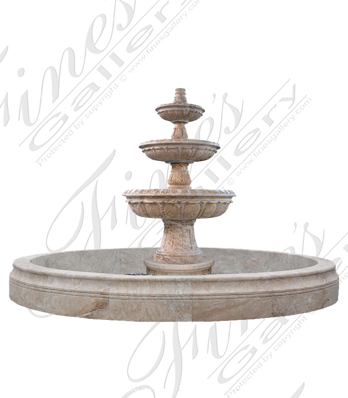 Oversized Traditional Travertine Fountain