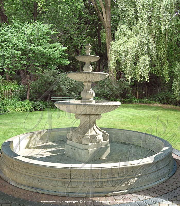 Huge White Marble Estate Fountain