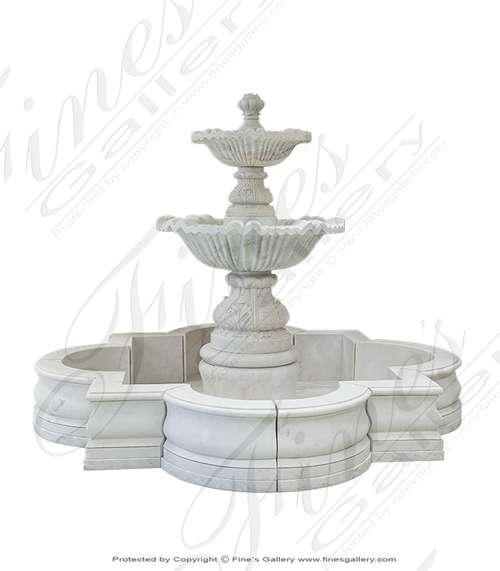 Two Tiered White Marble Fountain