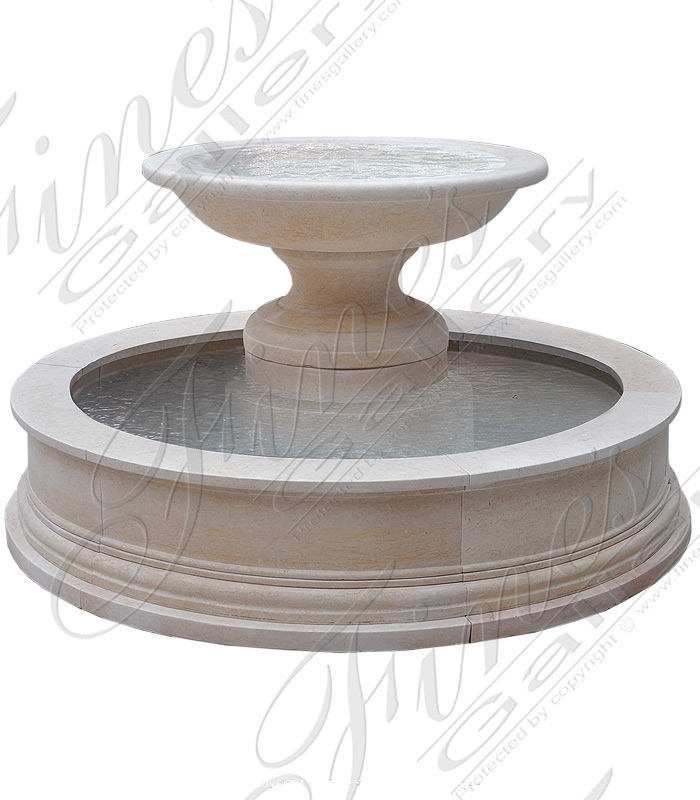 Transitional Fountain in Light Cream Marble