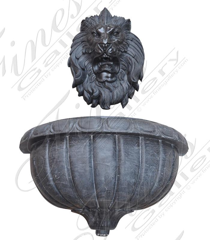 Marble Fountains  - Rare Black Marble Lion Head Wall Fountain - MF-1743