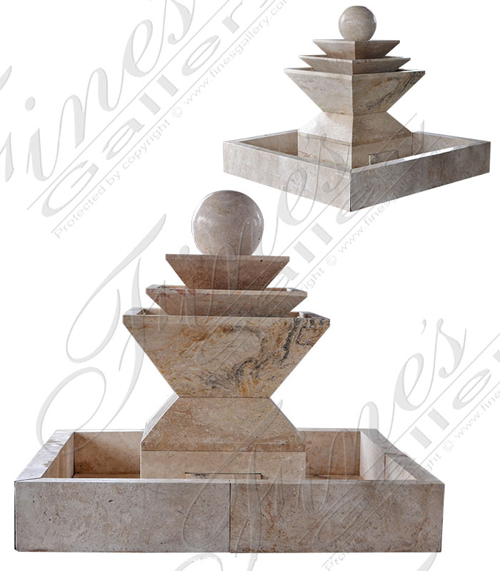 Marble Fountains  - Transitional Tuscan Beige Fountain - MF-1747