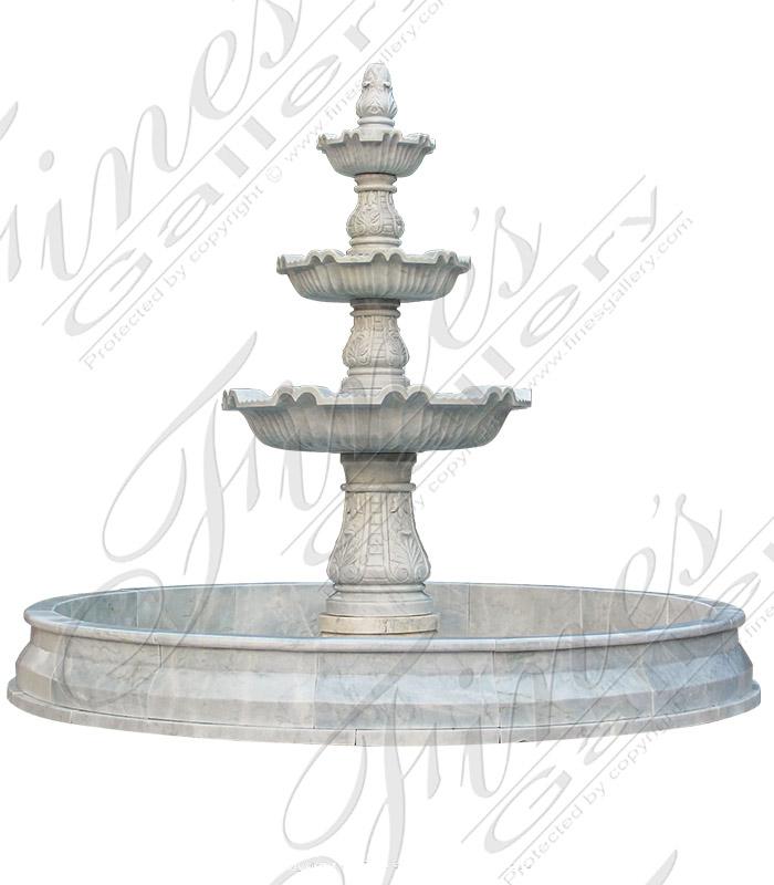 Elegant Courtyards White Marble Fountain