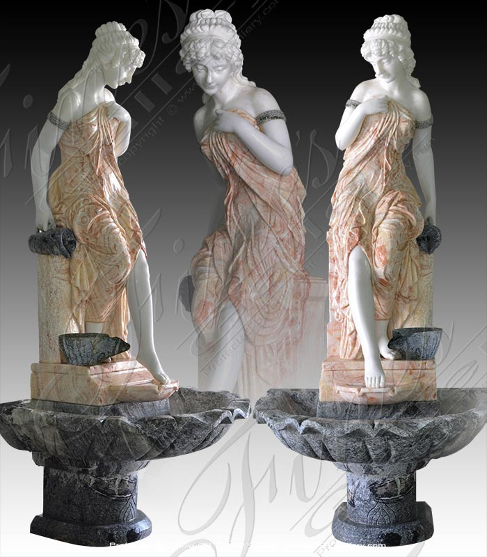 Victorian Lady Marble Fountain Feature
