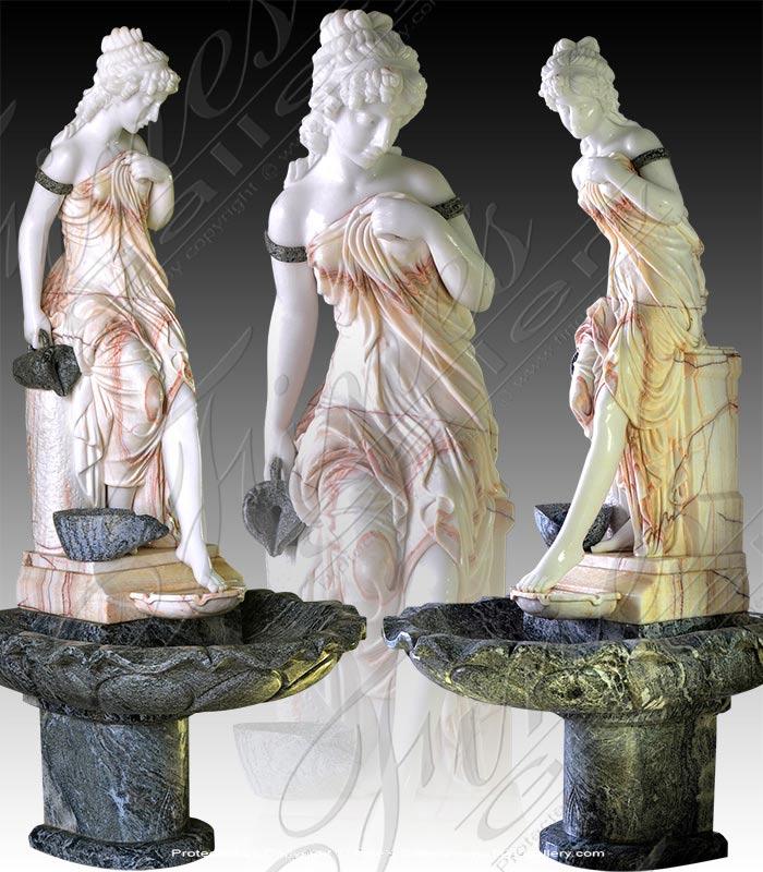 Victorian Woman Marble Garden Fountain