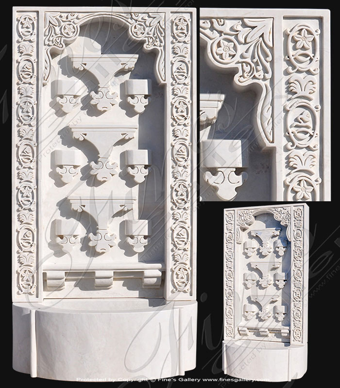 Marble Fountains  - Ornate Marble Wall Fountain - MF-1777