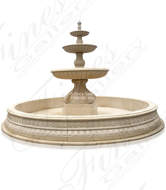 Grand Cream Marble Fountain