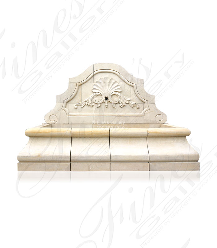 Shell Motif Limestone Wall Fountain