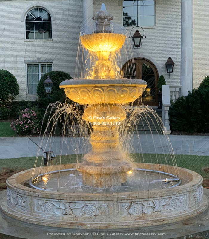 Marble Fountains  - Majestic Travertine Fountain - MF-1863