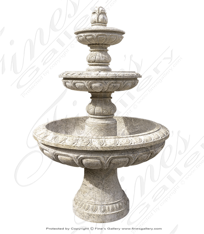 Three Tiered Antique Gold Granite Fountain