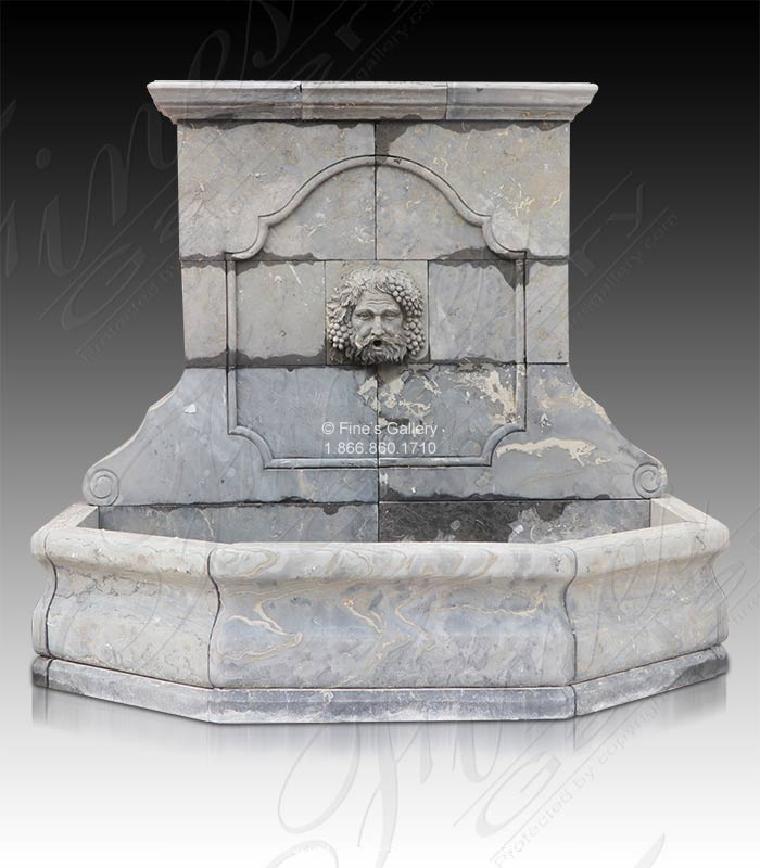 Antique Gray Bacchus Marble Wall Fountain