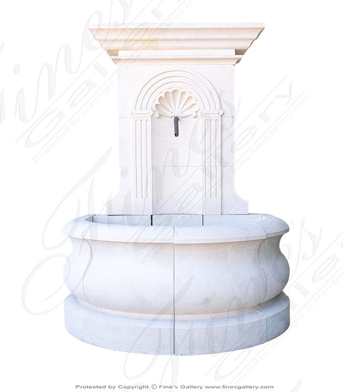 French Limestone Shell Motif Wall Fountain