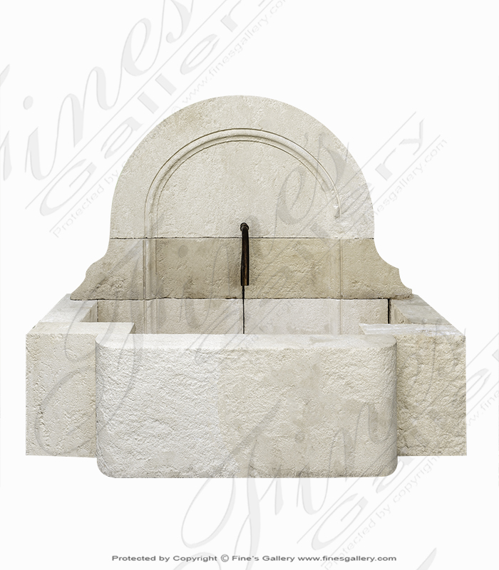 Aged French Limestone Wall Fountain