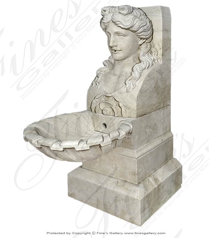 Roman Lady Wall Fountain in Italian Travertine