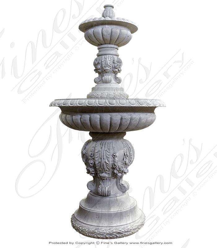 Floral Garland Fountain in Roman Travertine