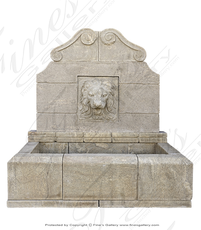 Aged Granite Wall Fountain with Lion Head Motif