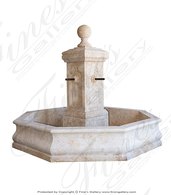 French Country Single Post Fountain in Travertine