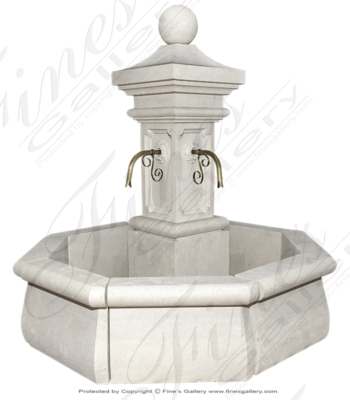 Luxurious French Limestone Countryside Fountain