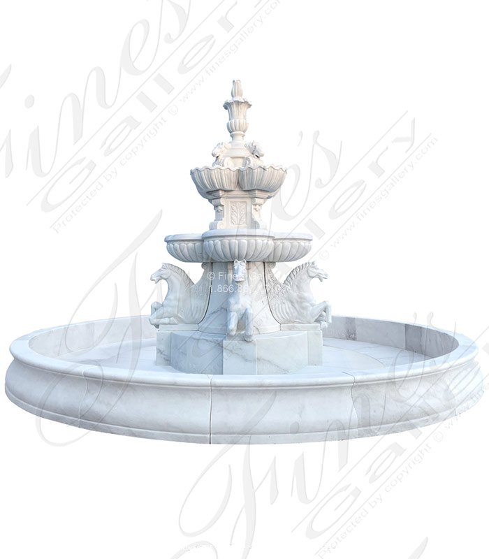 Marble Fountains  - Museum Quality White Marble Pegasus Fountain - MF-2073